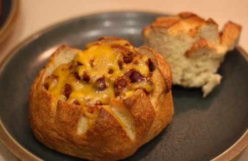 Bread, chili, cheese... what more could you possibly ask for??