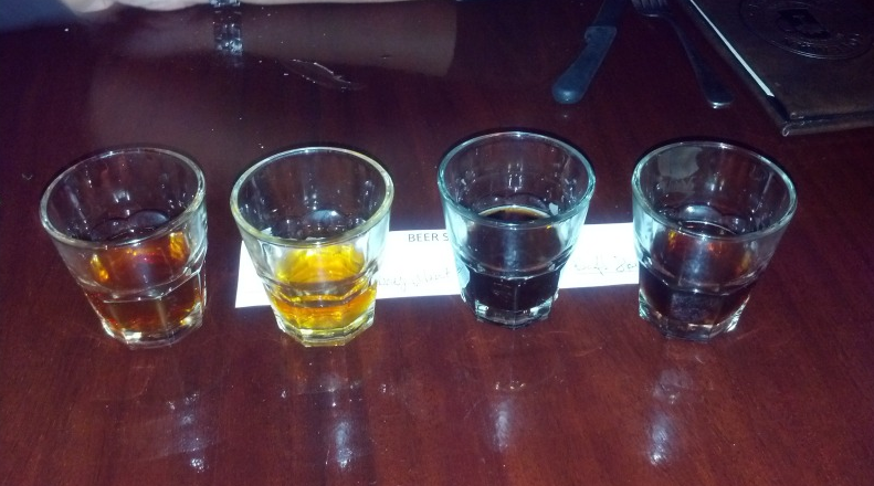 Big Red, Honey Weiss, Stout, Stout.