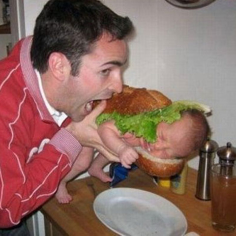 "Basically what I pictured every time I heard ""Burger Babies."" ...gross"