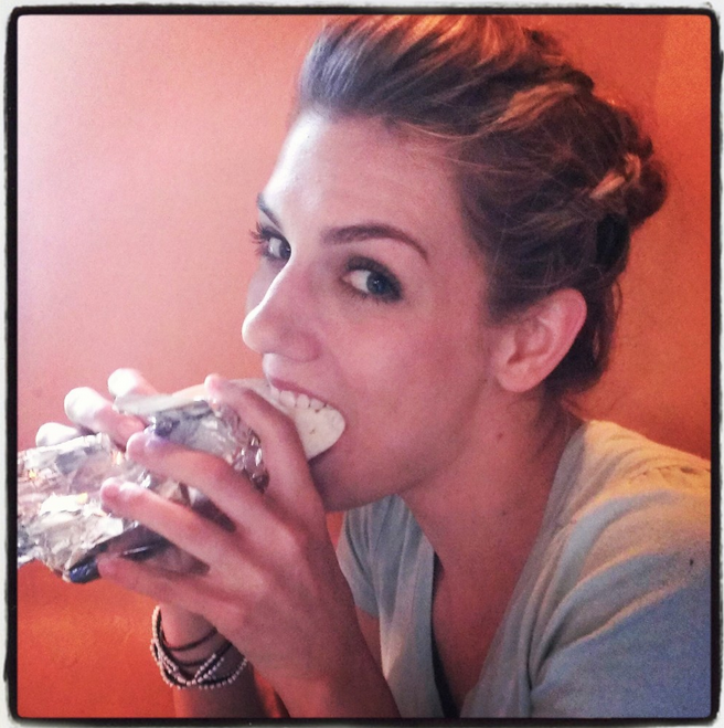 Here's a picture of Laura seducing me via taco.