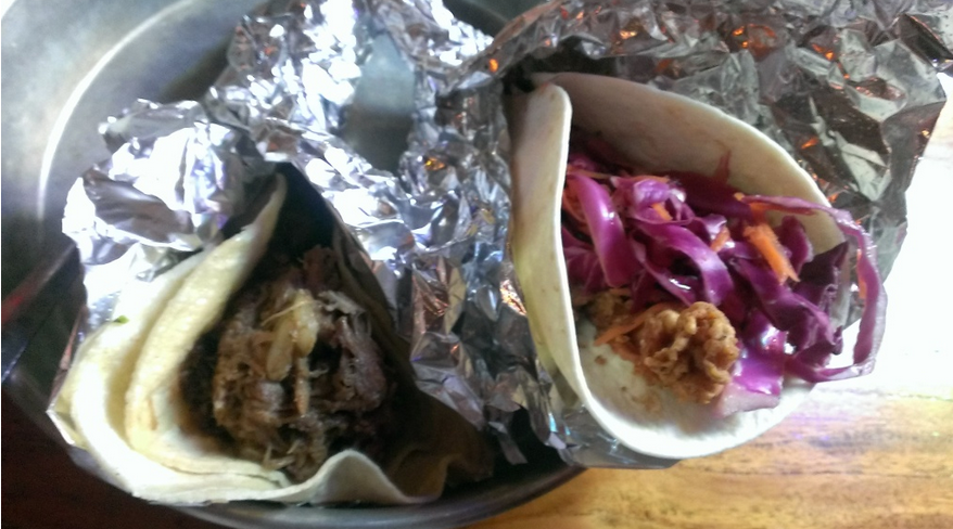 Carnitas on the left, fried chicken on the right.