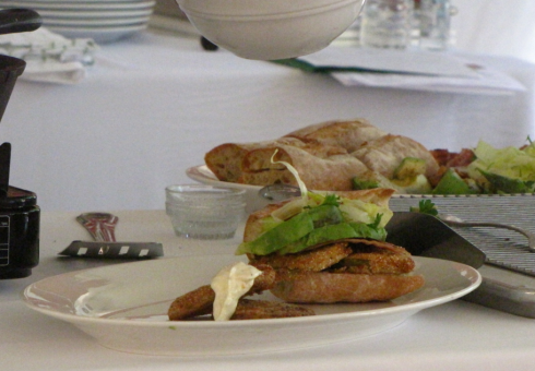 The finished product: Fried Green Tomato Po'boys with pepper jelly sauce and citrus-ginger aioli.